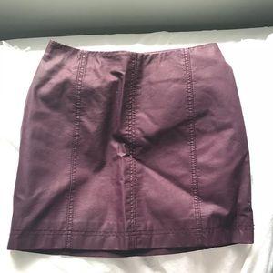 Free People Plum Leather Skirt